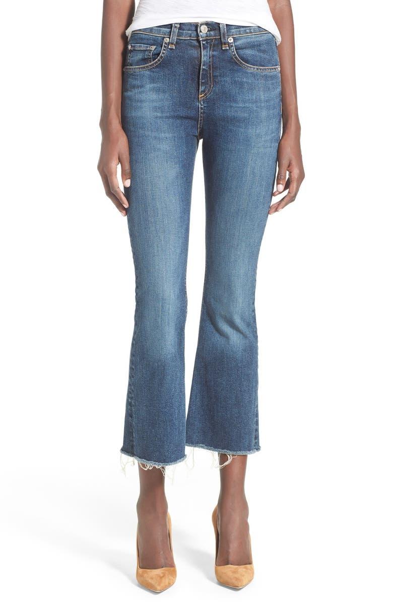 RAG & BONE /JEAN High Rise Raw Edge Crop Flare Jeans, Main, color, PAZ