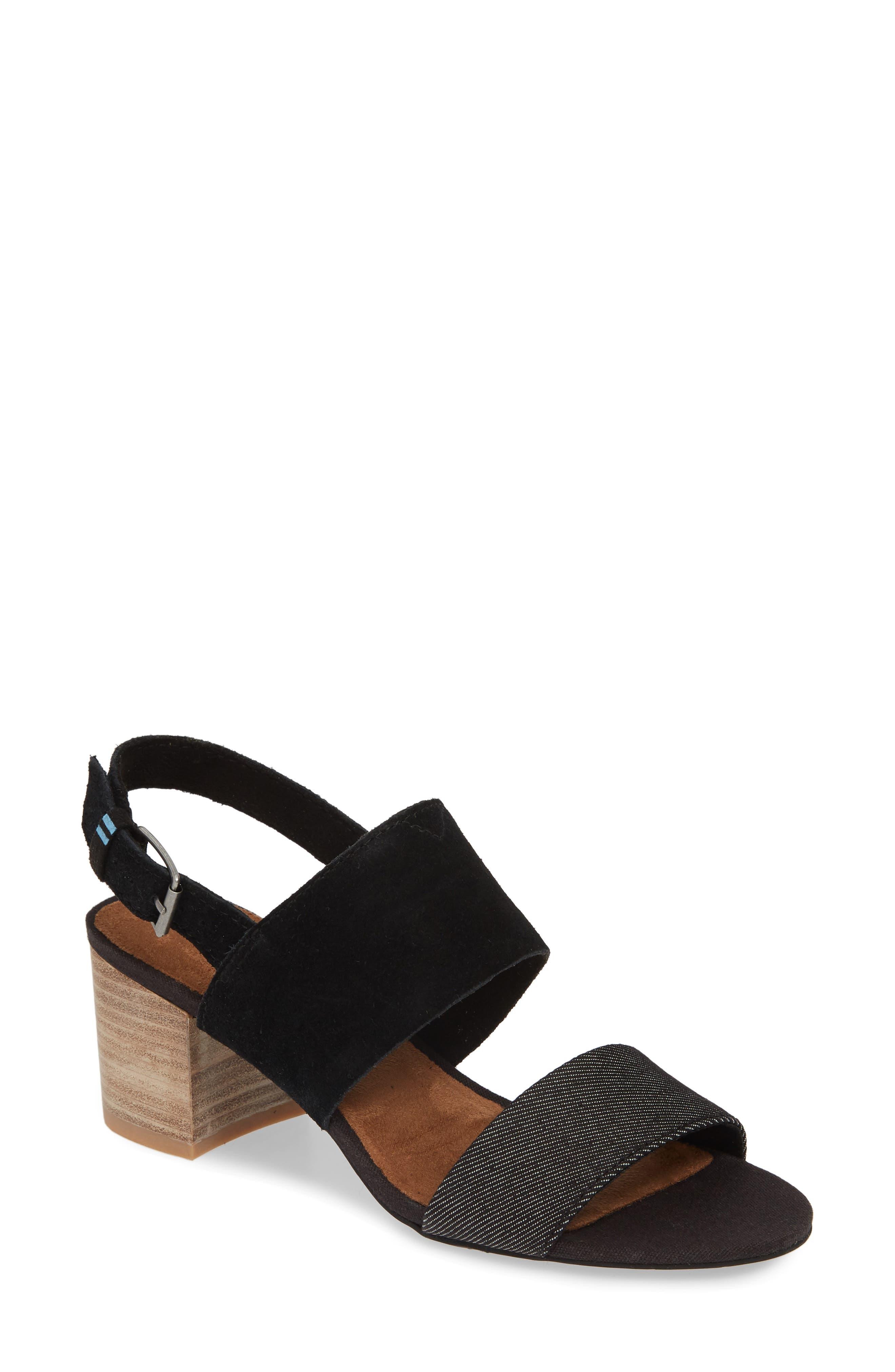 Poppy Sandal, Main, color, BLACK/ BLACK SUEDE