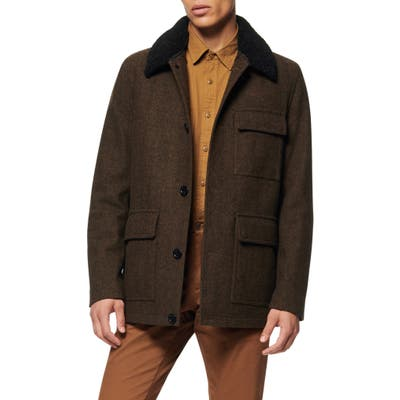 Andrew Marc Benito Wool Blend Coat With Detachable Collar, Green
