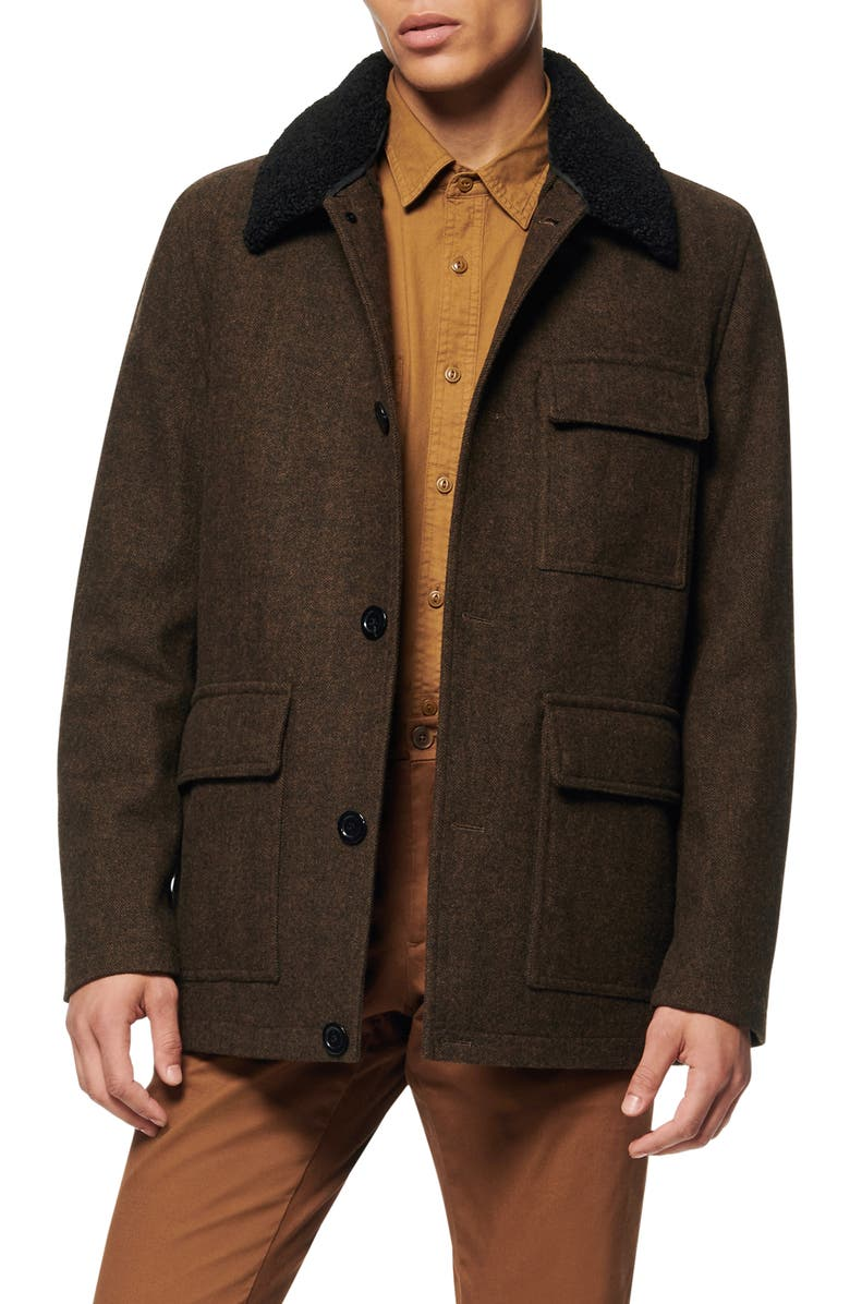 ANDREW MARC Benito Wool Blend Coat with Detachable Collar, Main, color, OLIVE