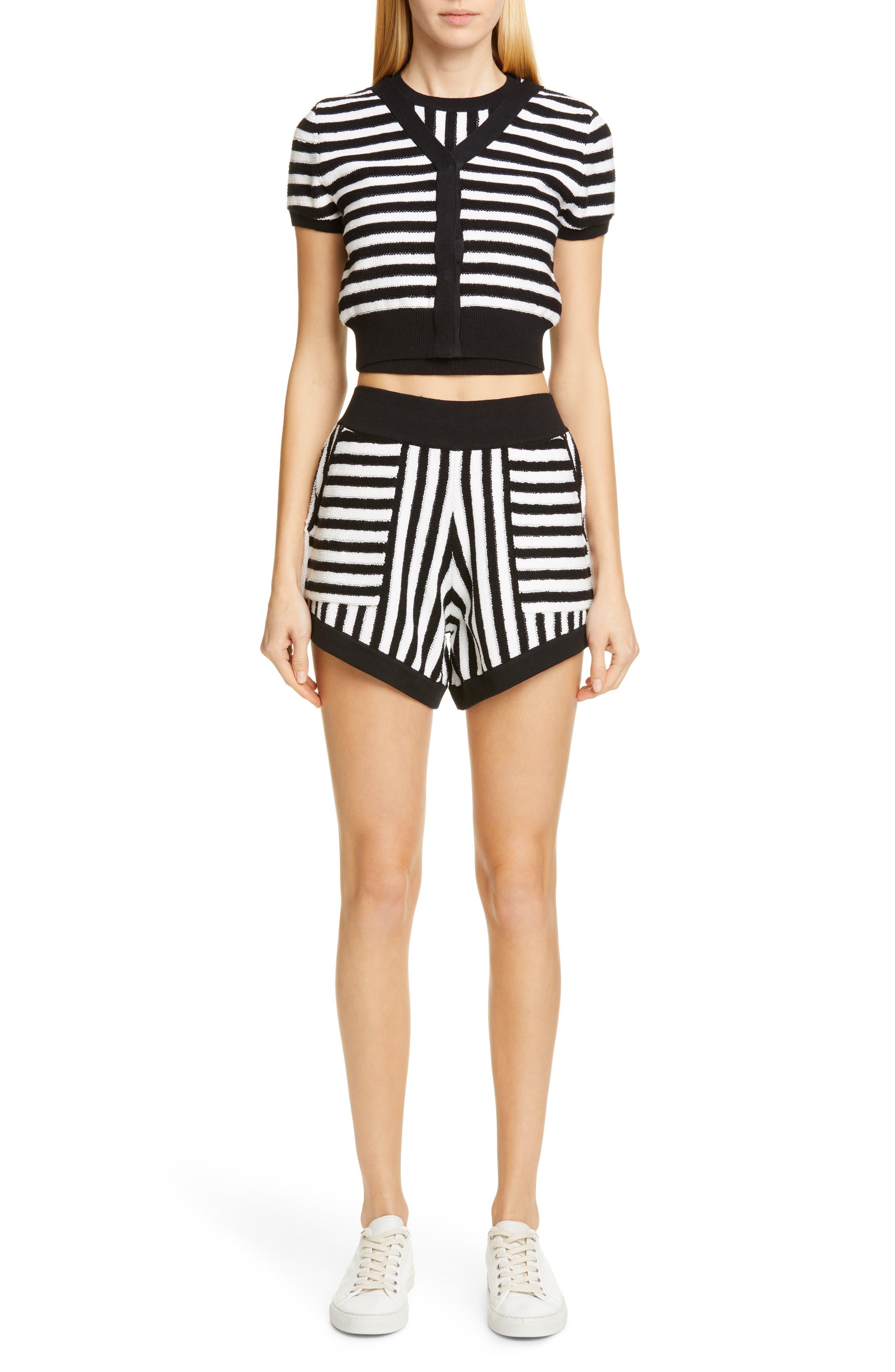 ,                             Striped Cotton & Cashmere Shorts,                             Alternate thumbnail 7, color,                             WHITE/ BLACK COMBO