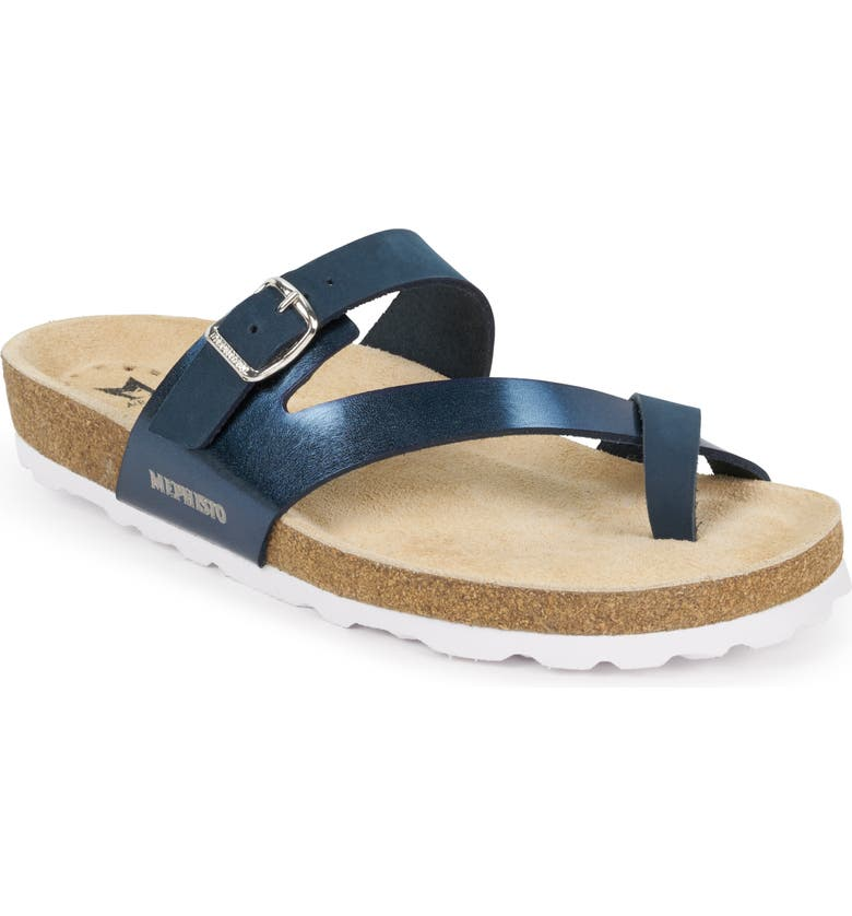 MEPHISTO Nalia Slide Sandal, Main, color, NAVY PATENT