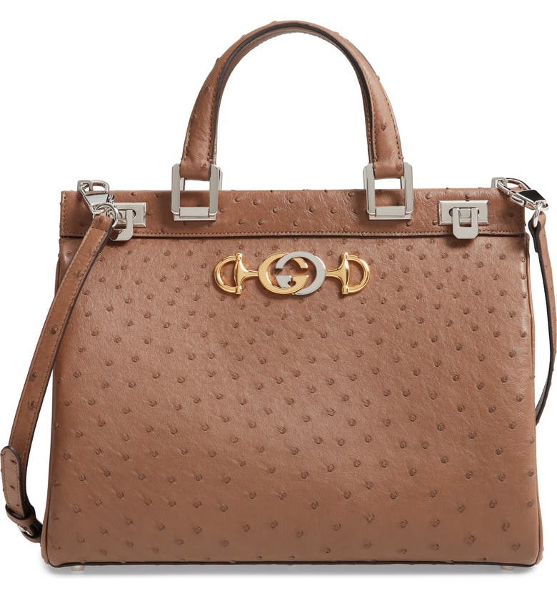 GUCCI Medium Zumi Top Handle Ostrich Leather Bag, Main, color, ACERO