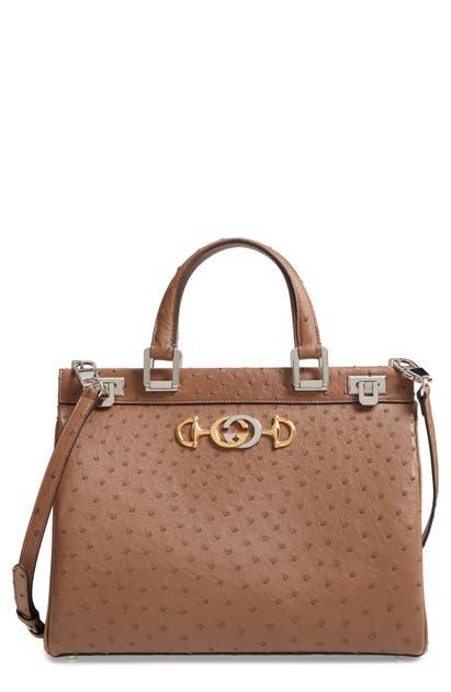 c0b053a8b Gucci Medium Zumi Top Handle Ostrich Leather Bag - Brown In Acero ...