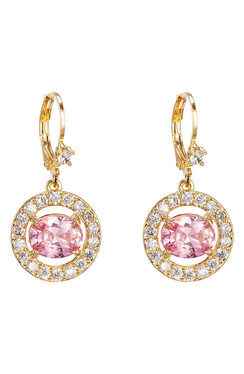 NINA Rose Crystal Drop Earrings, Main, color, GOLD/ LT ROSE CRYS/ WHT CZ