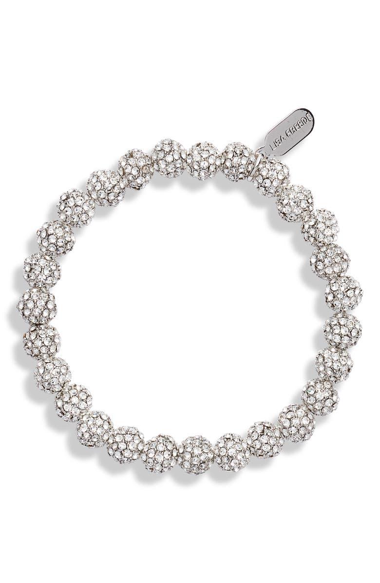 LISA FREEDE Mini Disco Ball Crystal Bracelet, Main, color, SILVER