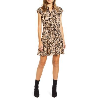 Rebecca Minkoff Ollie Zebra Print Minidress, Brown