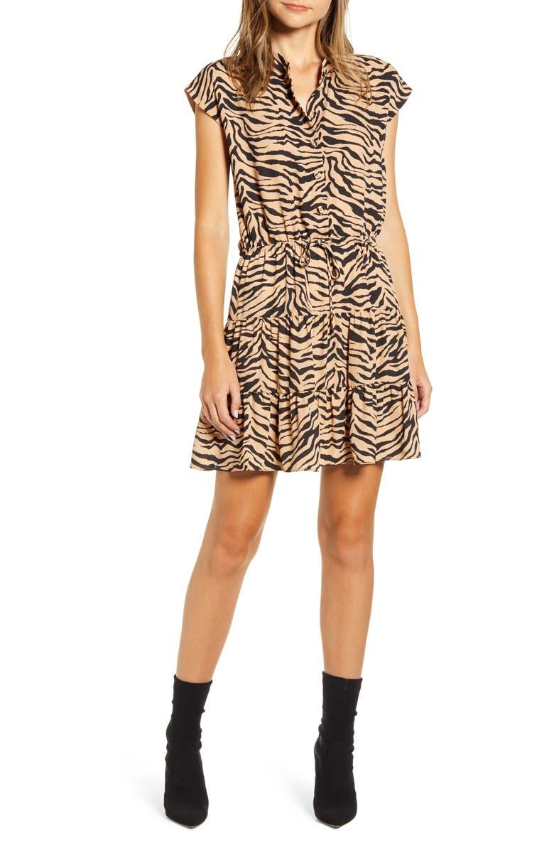 REBECCA MINKOFF Ollie Zebra Print Minidress, Main, color, CAMEL ZEBRA