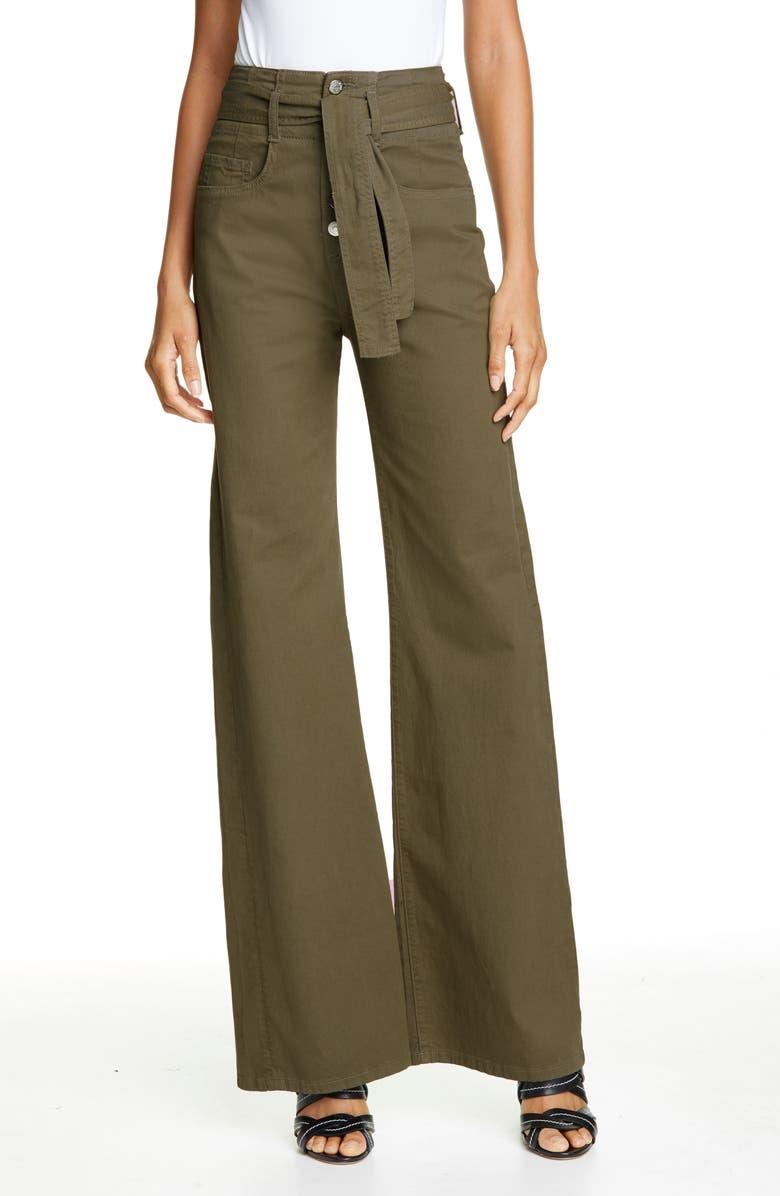 VERONICA BEARD Rosanna High Waist Wide Leg Jeans, Main, color, ARMY