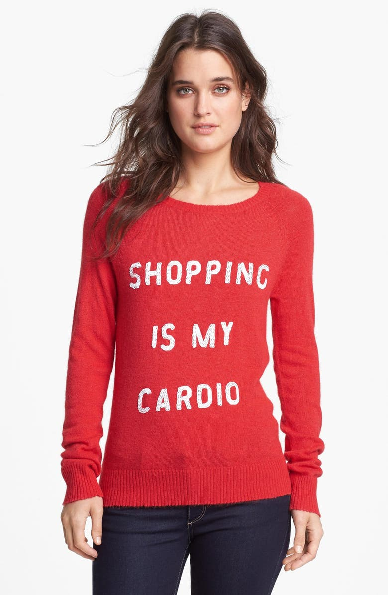 WILDFOX 'Shopping is My Cardio' Sequin Knit Sweater, Main, color, 600