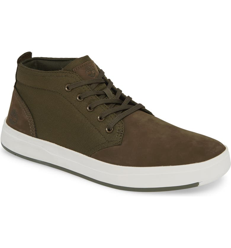 TIMBERLAND Davis Square Mid Top Chukka Sneaker, Main, color, DARK GREEN NUBUCK