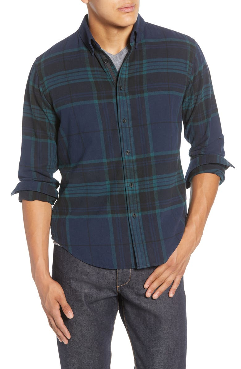 RAG & BONE Tomlin Slim Fit Plaid Button-Down Shirt, Main, color, BLACK/WATCH