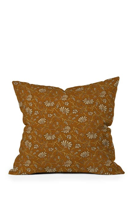 Image of Deny Designs Holli Zollinger Kalami Floral Mustard Square Throw Pillow