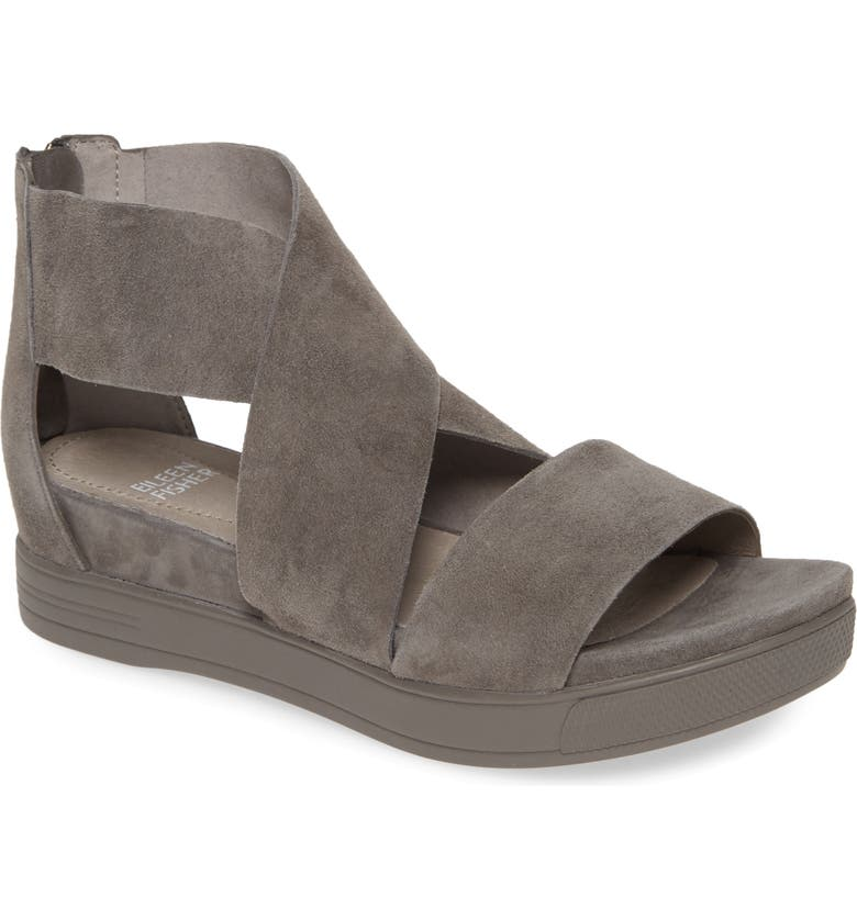 EILEEN FISHER Sport Platform Sandal, Main, color, GRAPHITE SUEDE