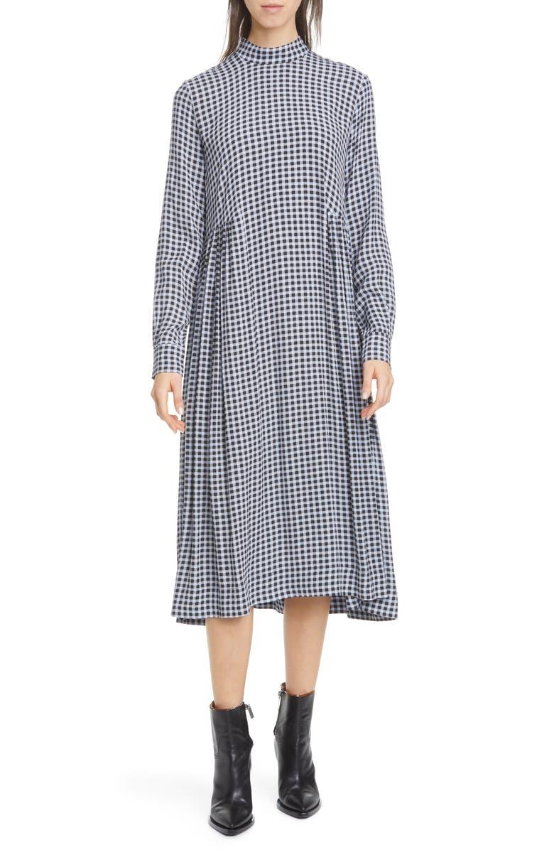 GANNI High Neck Long Sleeve Crepe Midi Dress, Main, color, 400