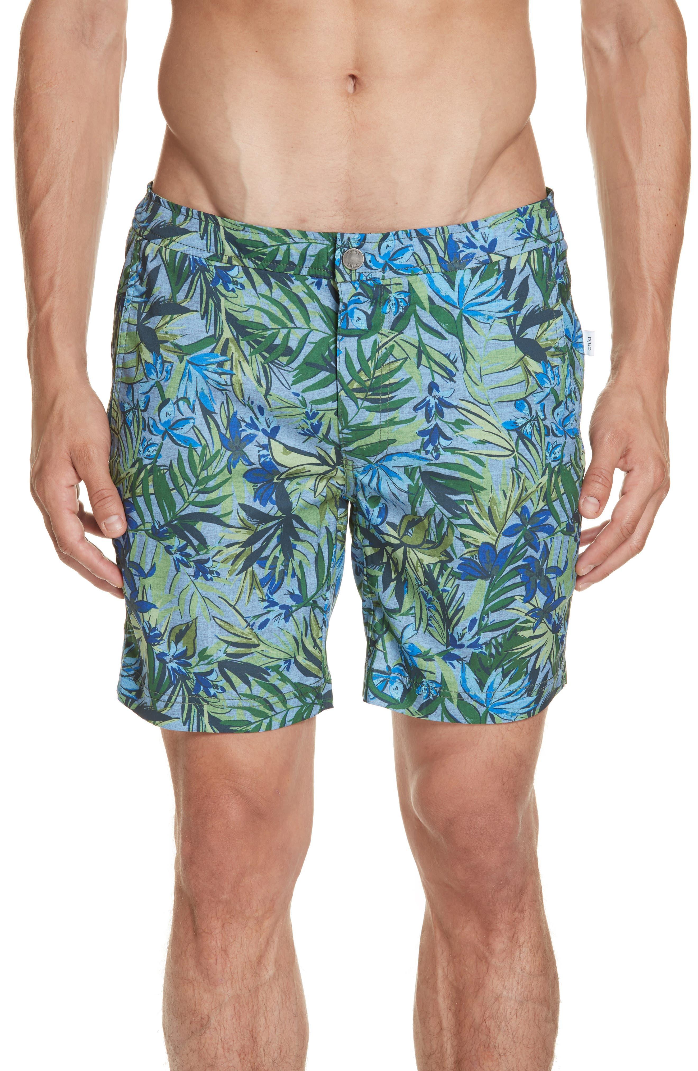 Onia Calder Tropics Print Swim Trunks, Blue