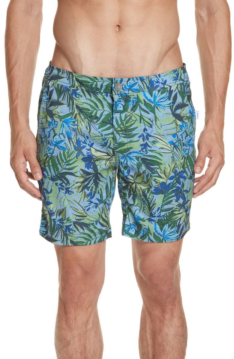 ONIA Calder Tropics Print Swim Trunks, Main, color, 420