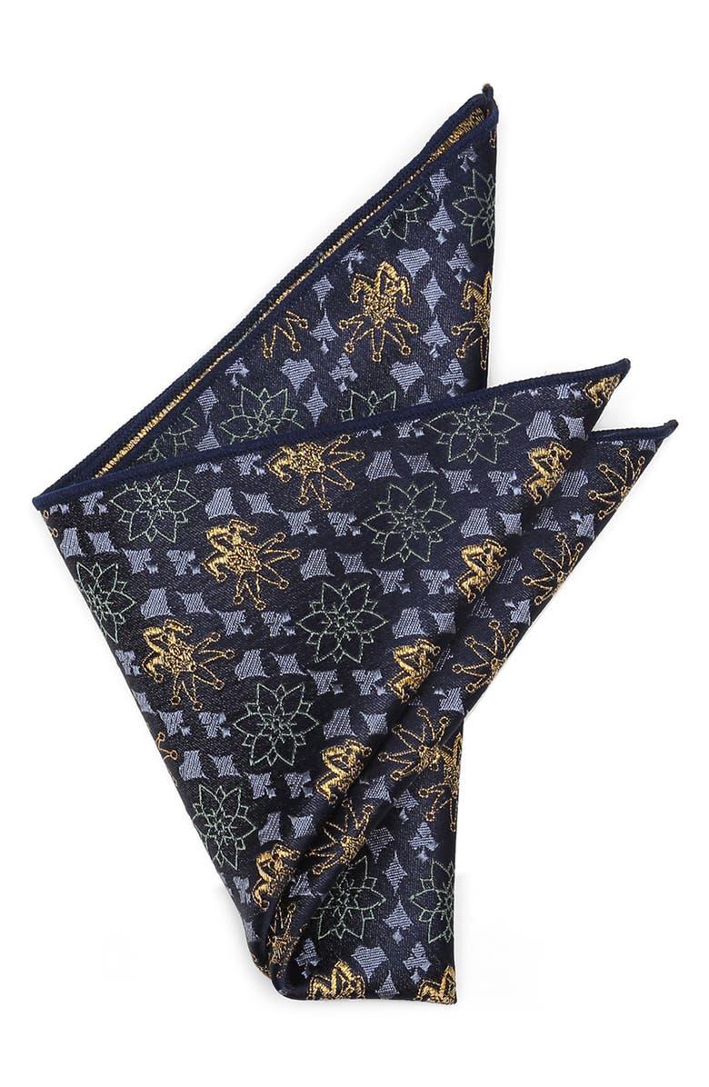 CUFFLINKS, INC. Metallic Joker Silk Pocket Square, Main, color, BLUE