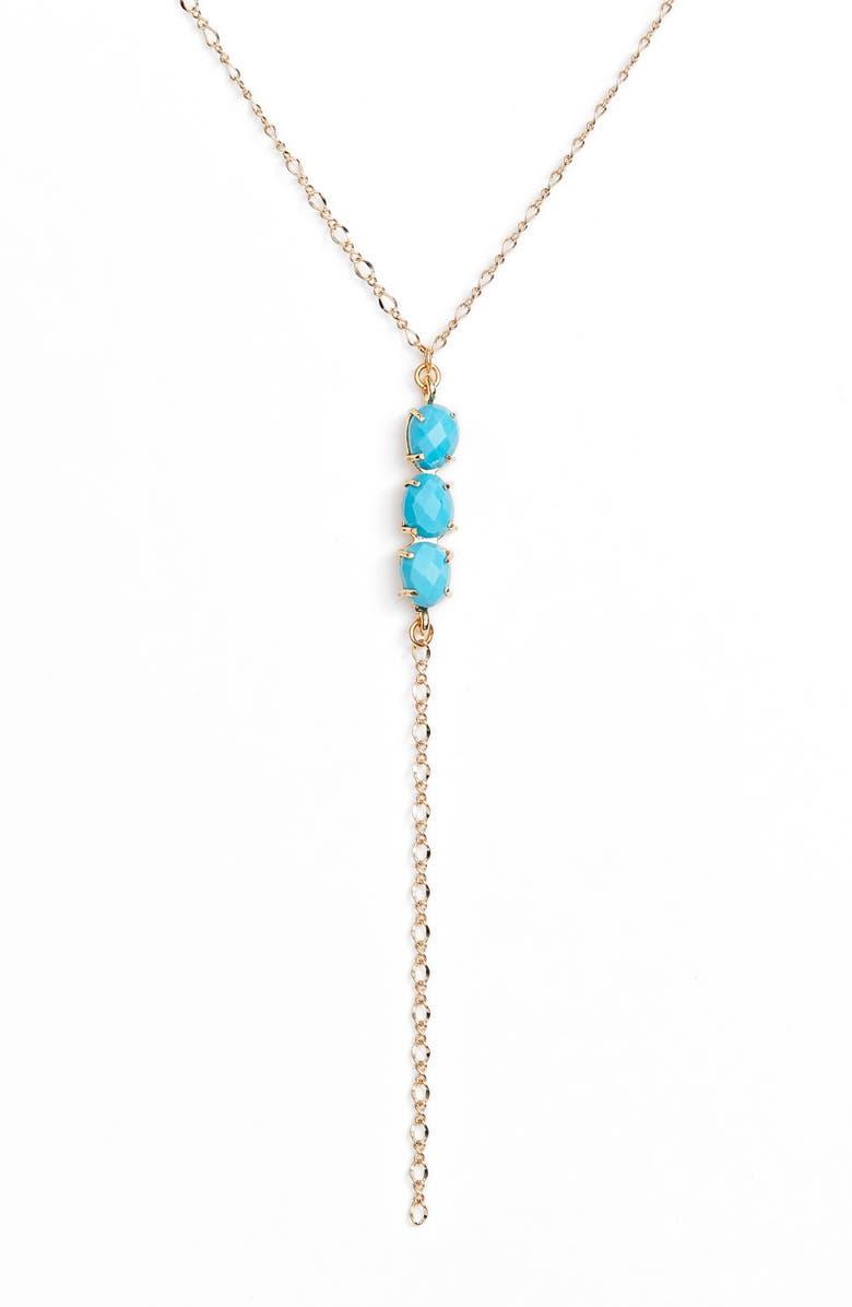 BRACHA Esmeralda Lariat Necklace, Main, color, TURQUOISE/ GOLD