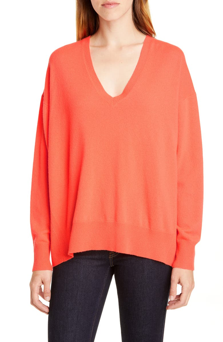 POLO RALPH LAUREN V-Neck Cashmere Sweater, Main, color, CORAL