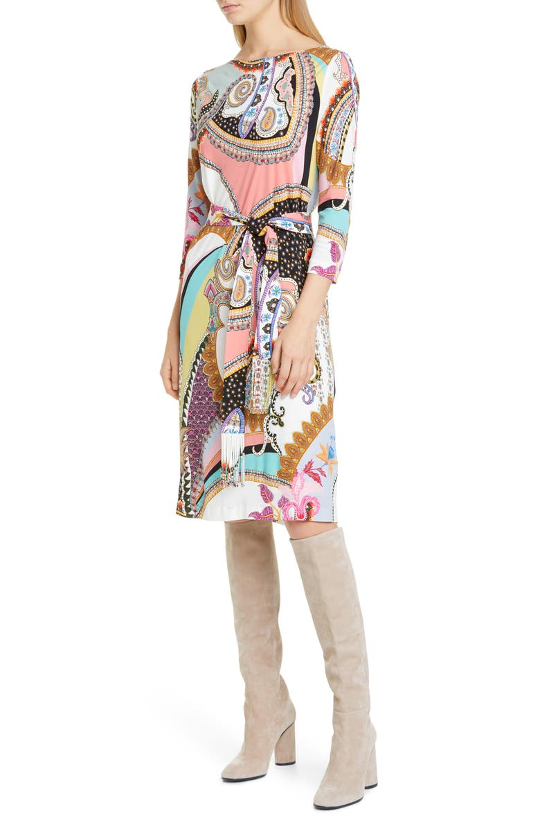 ETRO Paisley Print Jersey Dress, Main, color, WHITE