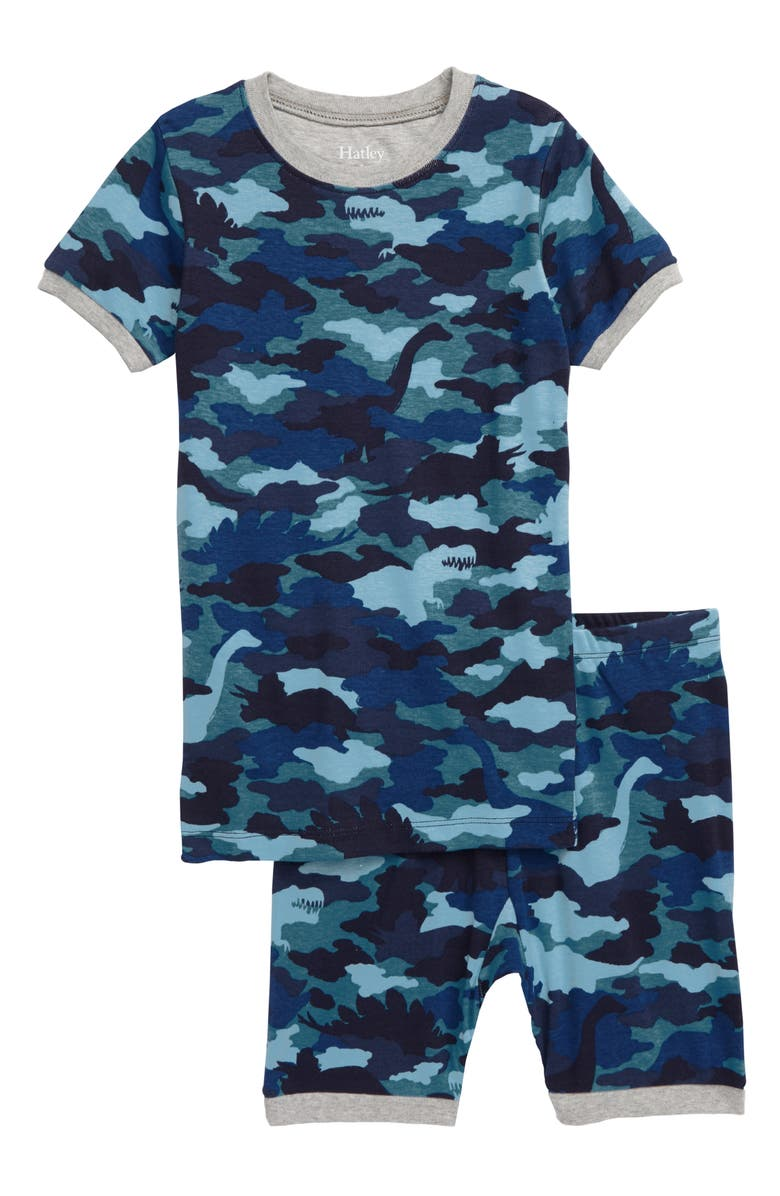 HATLEY Dino Camo Organic Cotton Fitted Two-Piece Pajamas, Main, color, 400
