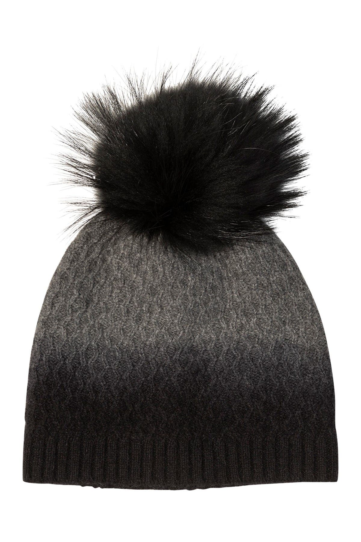 Image of AMICALE Cashmere Dip Dye Hat with Genuine Fox Pom
