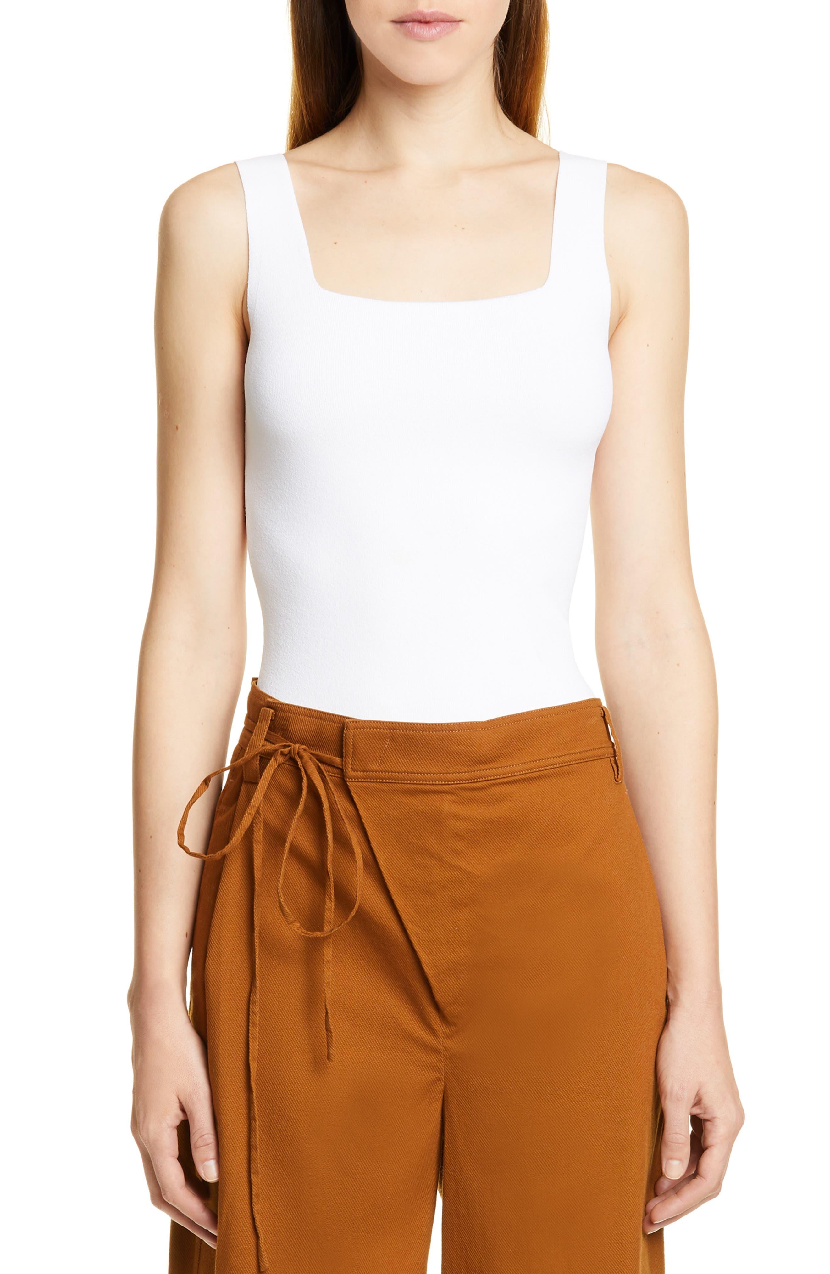 Vince Tops SQUARE NECK SWEATER TANK
