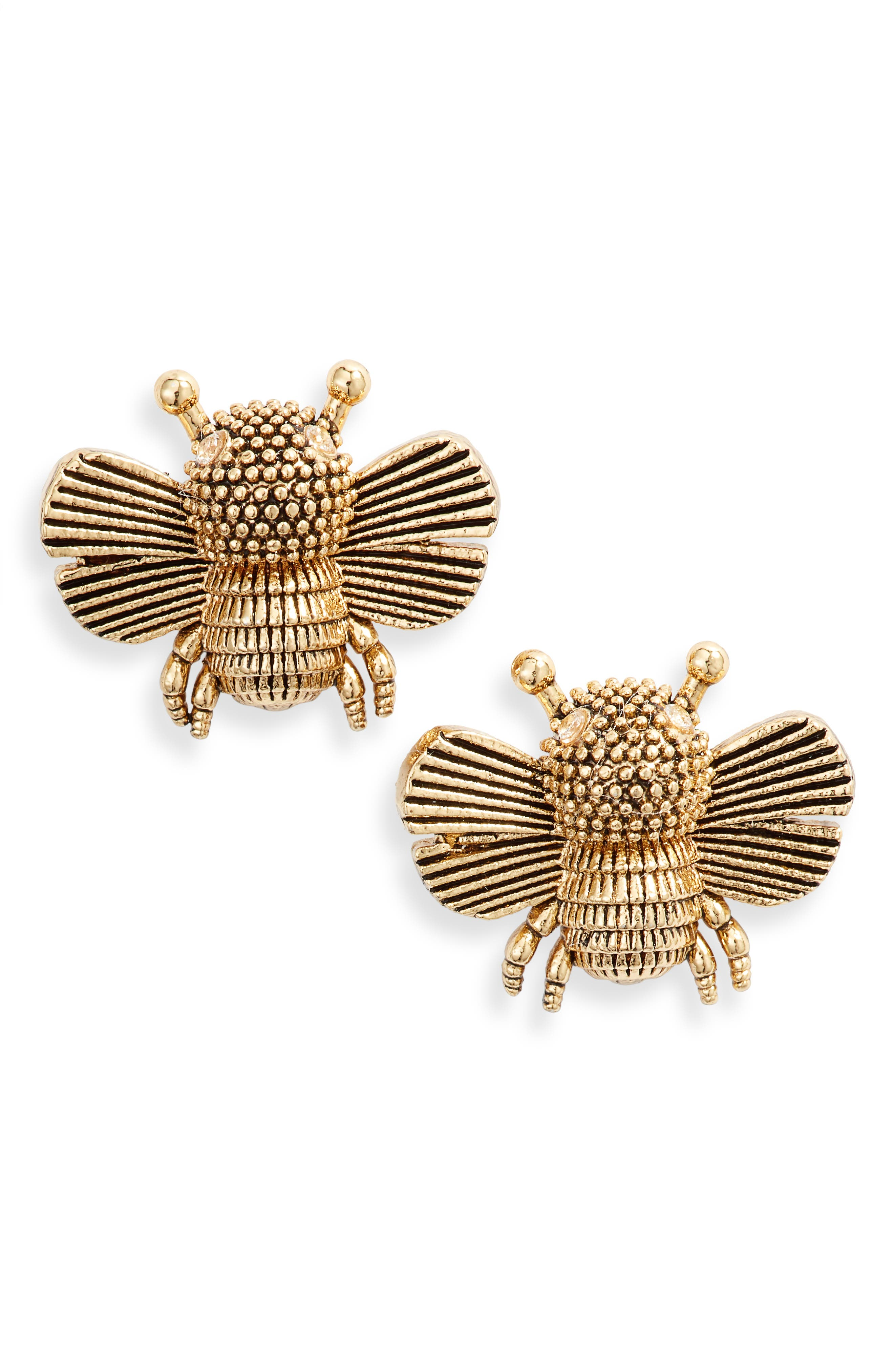 all abuzz bee stud earrings, Main, color, WORN GOLD