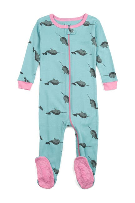 Image of Leveret Whale Print Footed Pajama Sleeper