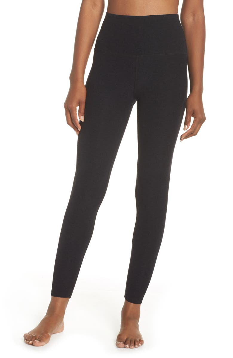 BEYOND YOGA Midi High Waist Leggings, Main, color, DARKEST NIGHT