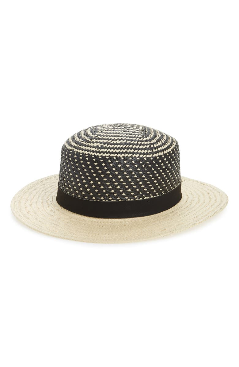 NOAKE Geo Pattern Straw Boater Hat, Main, color, 250