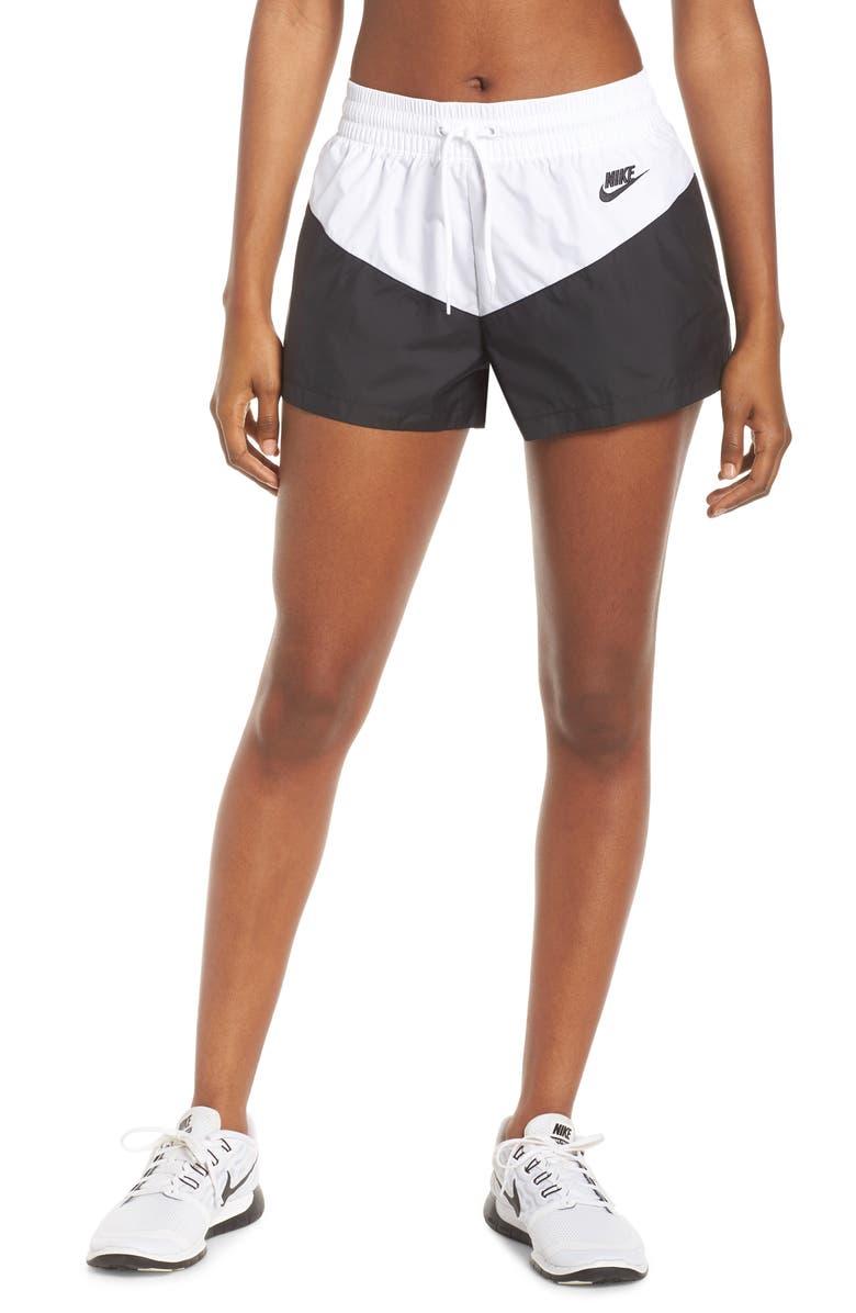 NIKE Sportswear Heritage Shorts, Main, color, BLACK/ WHITE/ BLACK