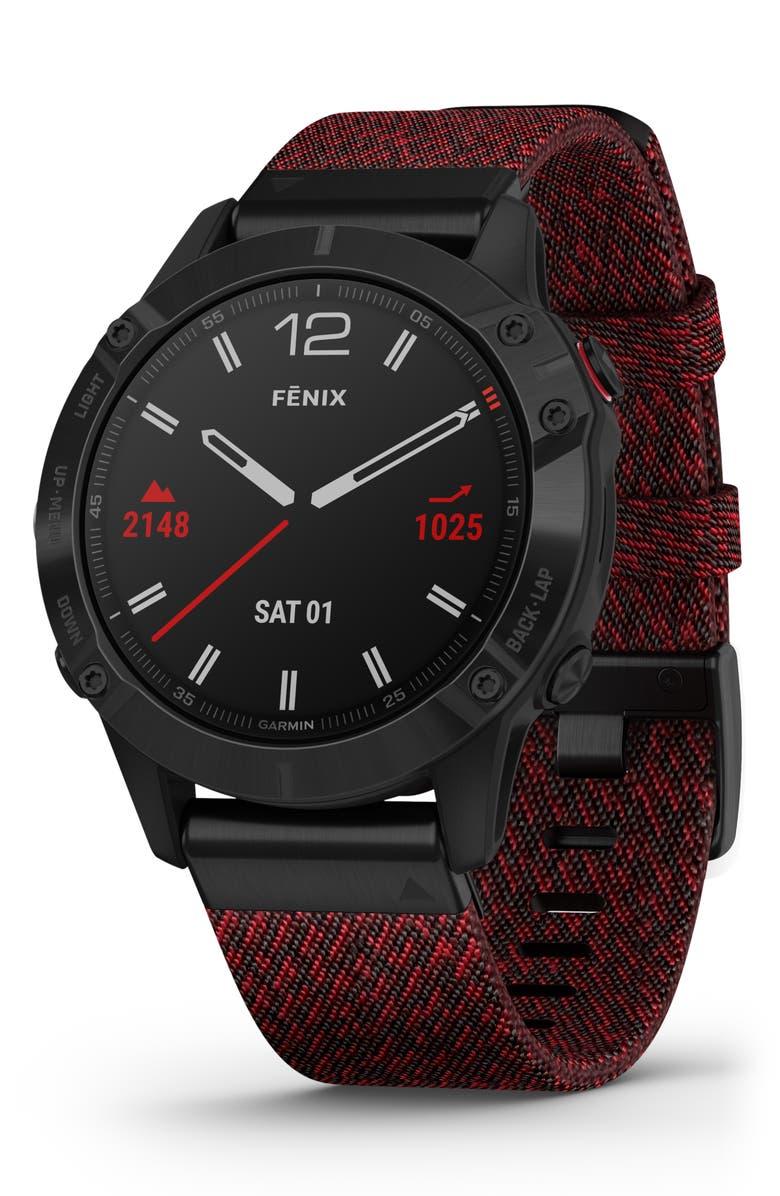 GARMIN fenix<sup>®</sup> 6 Sapphire Premium Multisport GPS Watch, 47mm, Main, color, BLACK/ HEATHERED RED