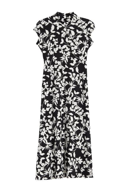 Image of Velvet Torch Floral Print Mock Neck Maxi Dress