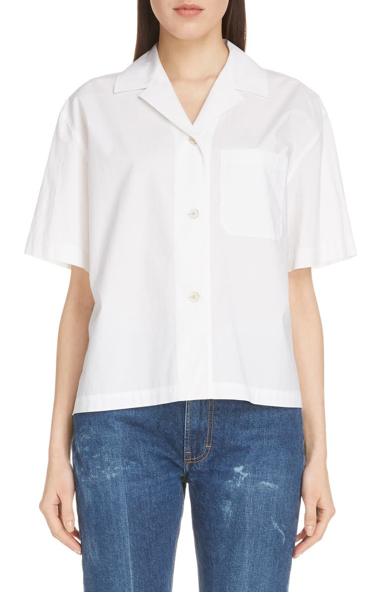 ACNE STUDIOS Sindra Poplin Shirt, Main, color, WHITE
