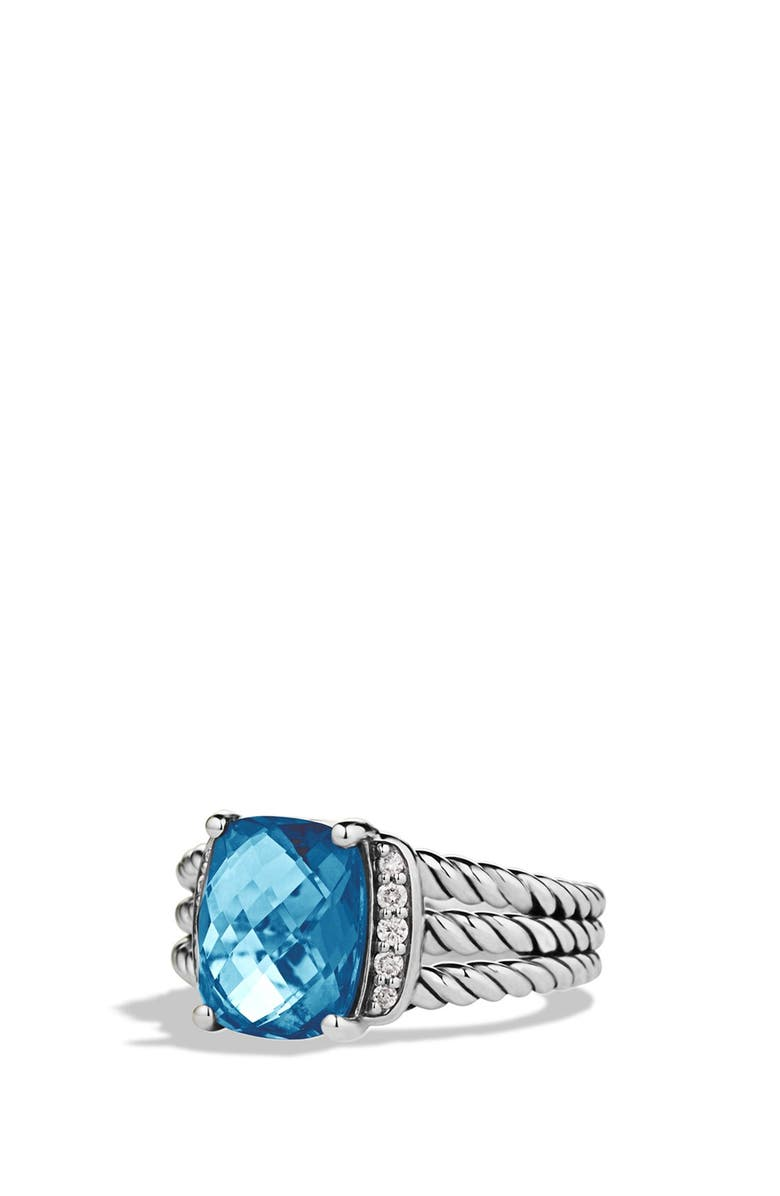DAVID YURMAN Wheaton Petite Ring with Semiprecious Stone & Diamonds, Main, color, HAMPTON BLUE TOPAZ