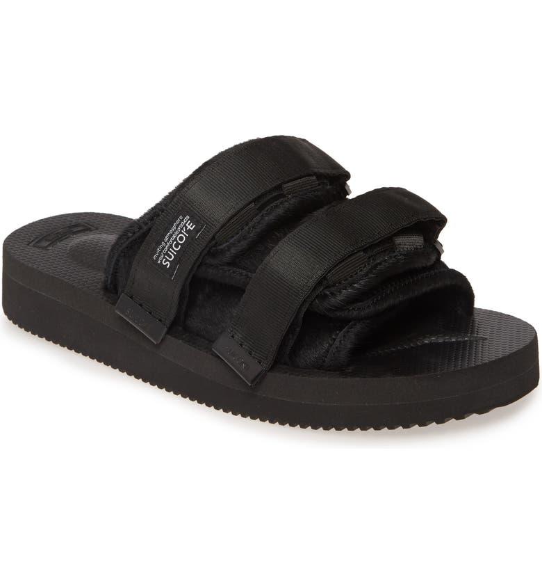 SUICOKE Moto VHL Genuine Calf Hair Slide Sandal, Main, color, BLACK