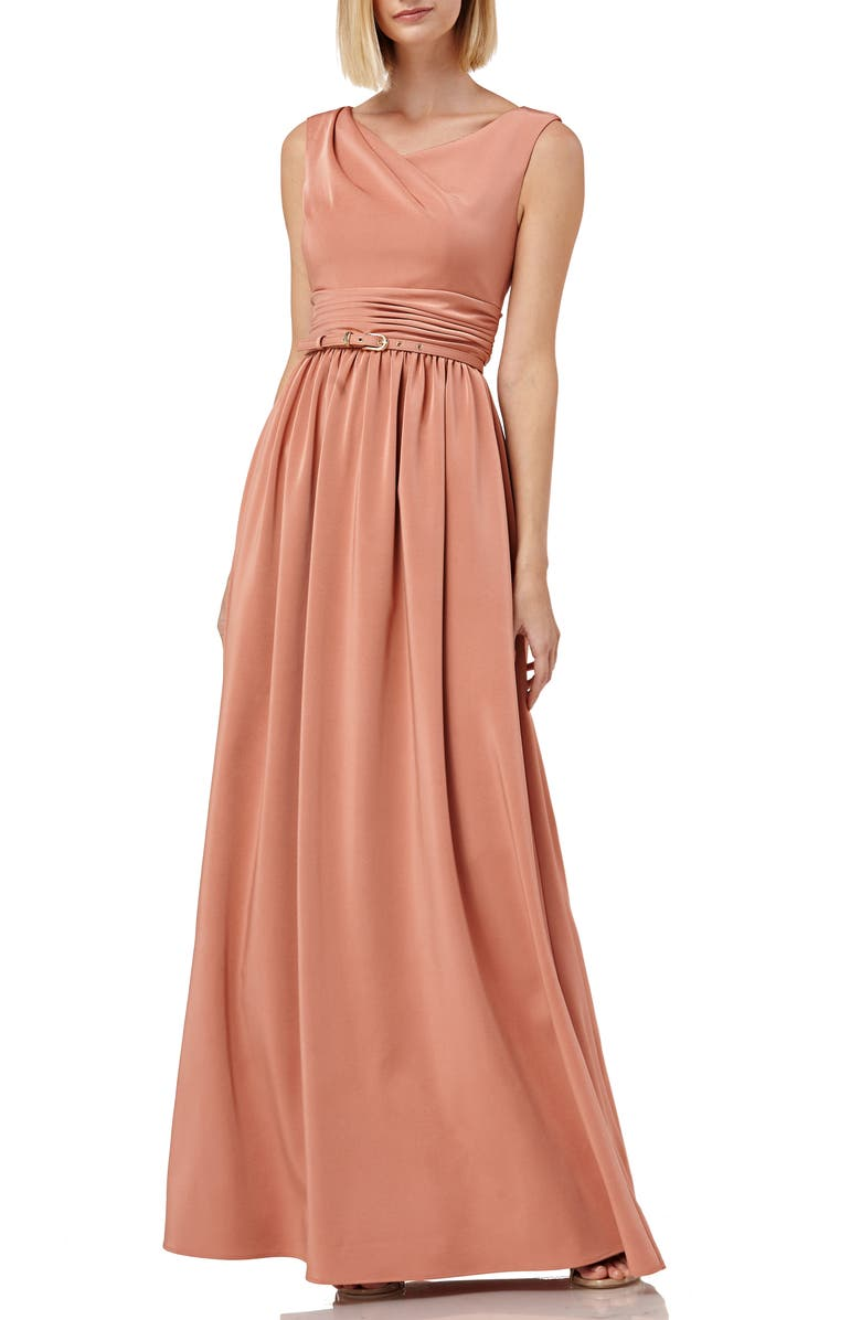 KAY UNGER Sleeveless Draped Neckline Gown, Main, color, DEEP ROSE
