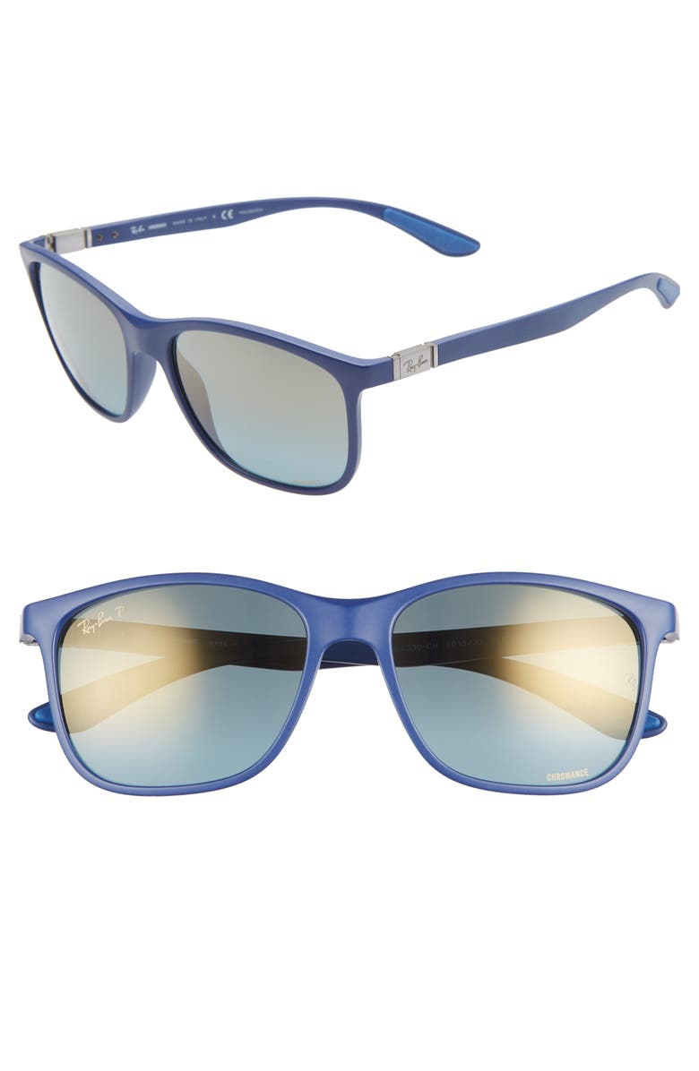 RAY-BAN 56mm Square Sunglasses, Main, color, BLUE