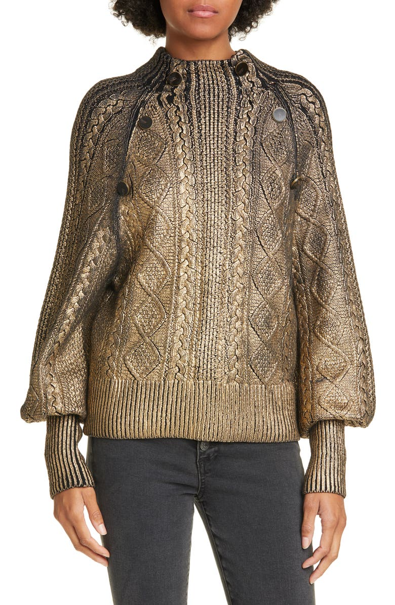 VERONICA BEARD Grady Metallic Coated Cable Sweater, Main, color, 001