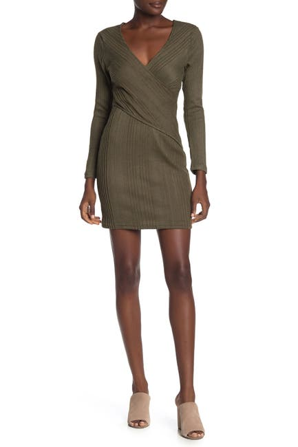 Image of MAX & ASH Wrap Ribbed Knit Mini Dress