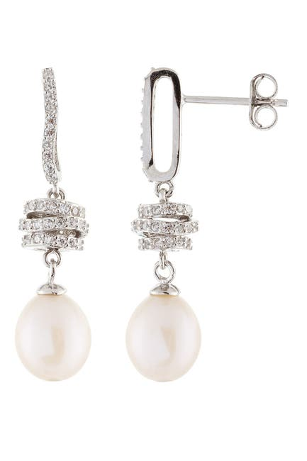 Image of Splendid Pearls Rhodium Plated Sterling Silver Pave CZ Swirl & 8-9.5mm Cultured Freshwater Pearl Dangle Earrings