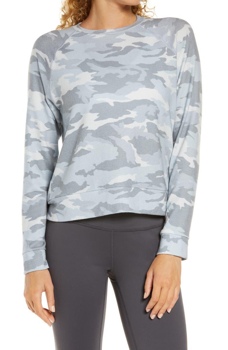 BEYOND YOGA Hacci Raglan Pullover, Main, color, GRAY CAMO