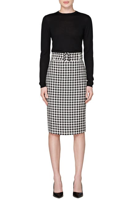 Image of SUISTUDIO Darell Belted Gingham Pencil Skirt
