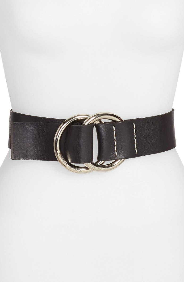 MICHAEL MICHAEL KORS Michael Kors Wide Leather Ring Belt, Main, color, 001