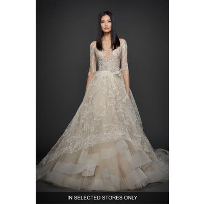 Lazaro Embroidered Tulle Ballgown, Size IN STORE ONLY - Beige