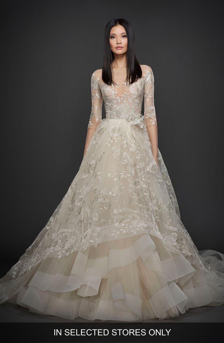 LAZARO Embroidered Tulle Ballgown, Main, color, PLATINUM