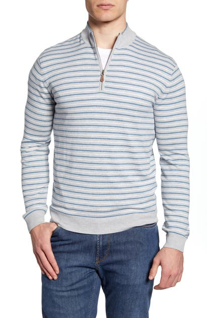 Johnnie-O Sweaters GRIFFIN STRIPE QUARTER ZIP SWEATER