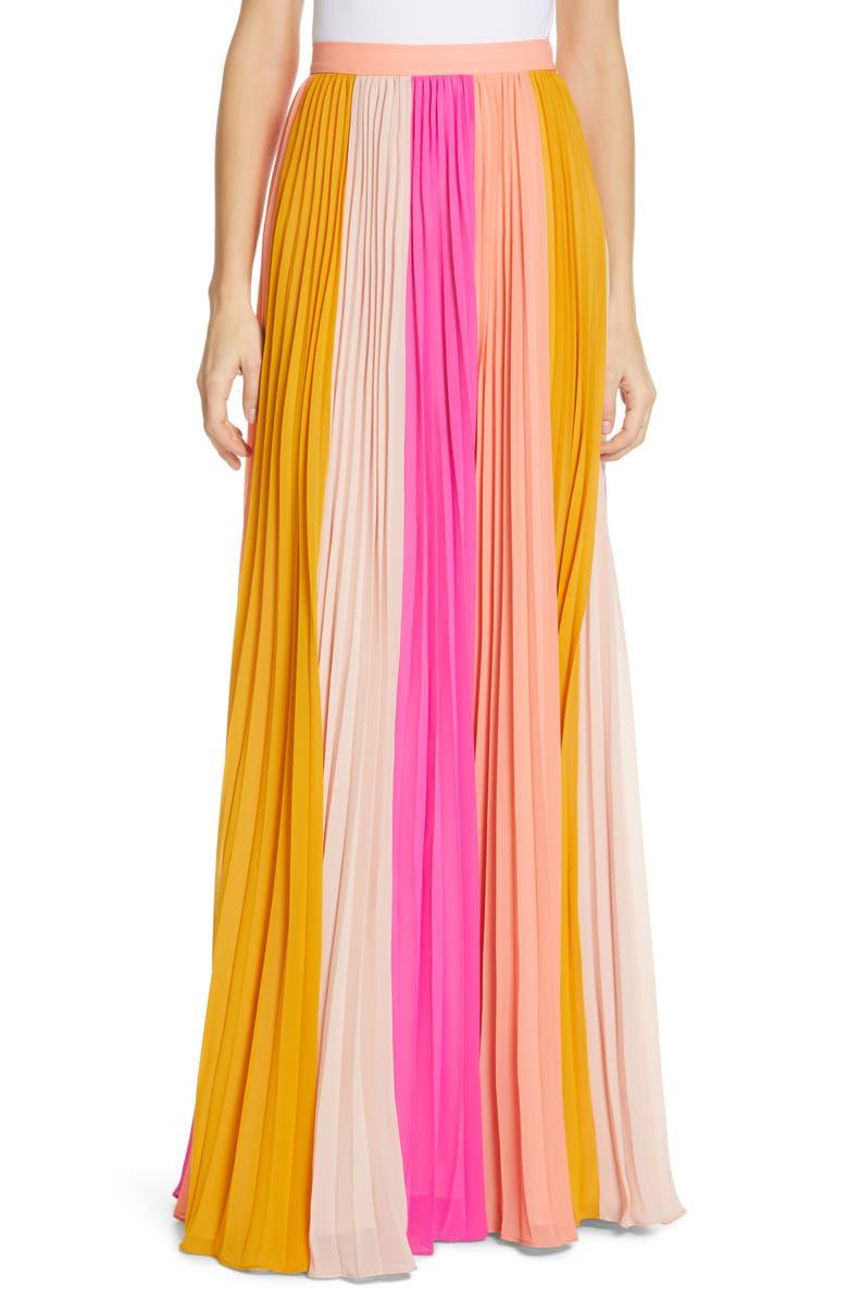 AMUR Abby Pleated Maxi Skirt, Main, color, MULTI